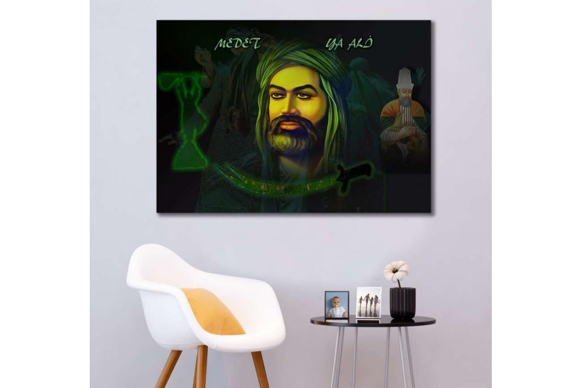 srk288b- HAZRETİ ALİ, HACI BEKTAŞ, PİR SULTAN VE ZÜLFİKAR temalı özel tasarım kanvas tablo