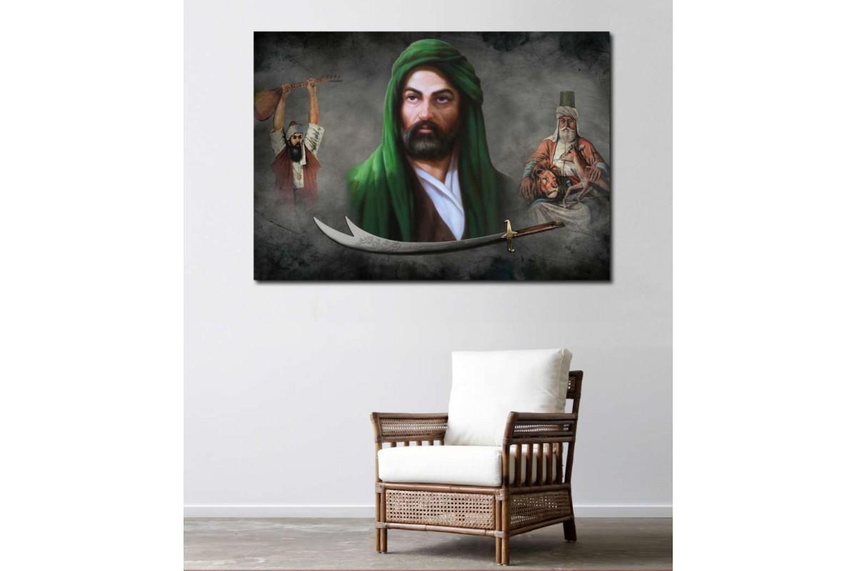 srk288c- HAZRETİ ALİ, HACI BEKTAŞ, PİR SULTAN VE ZÜLFİKAR temalı özel tasarım kanvas tablo