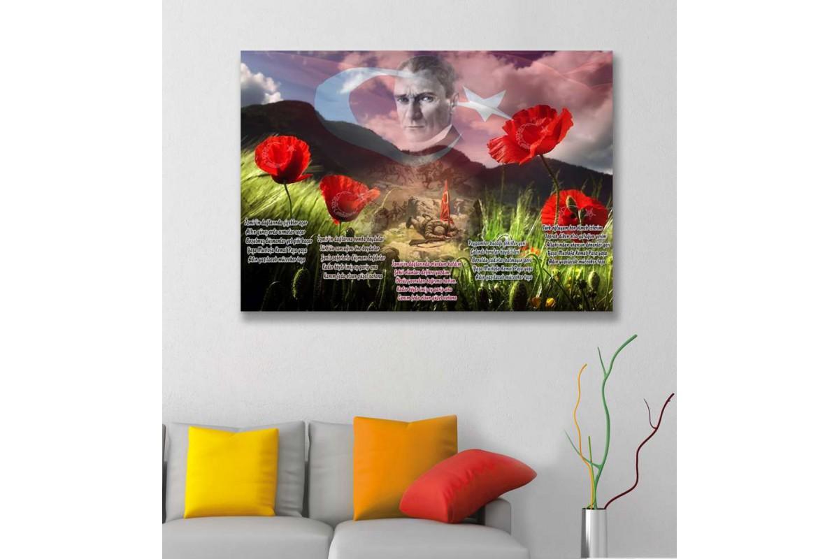 srk296 - Atatürk, İzmir'in Dağlarında Çiçekler Açar temalı özel tasarım kanvas tablo