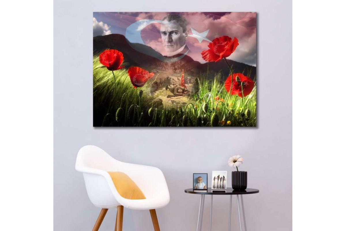 srk296b - Atatürk, İzmir'in Dağlarında Çiçekler Açar temalı özel tasarım kanvas tablo