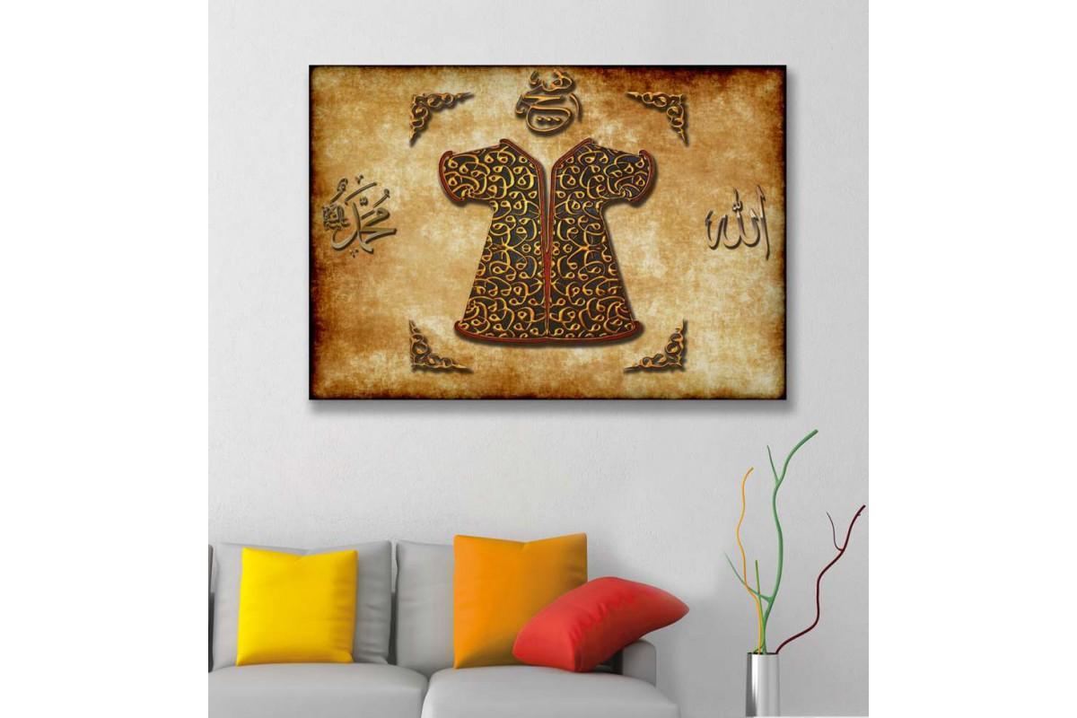 srk298 - Osmanlı Padişah Kaftanı, Allah Muhammed Lafzı Özel Tasarım Kanvas Tablo