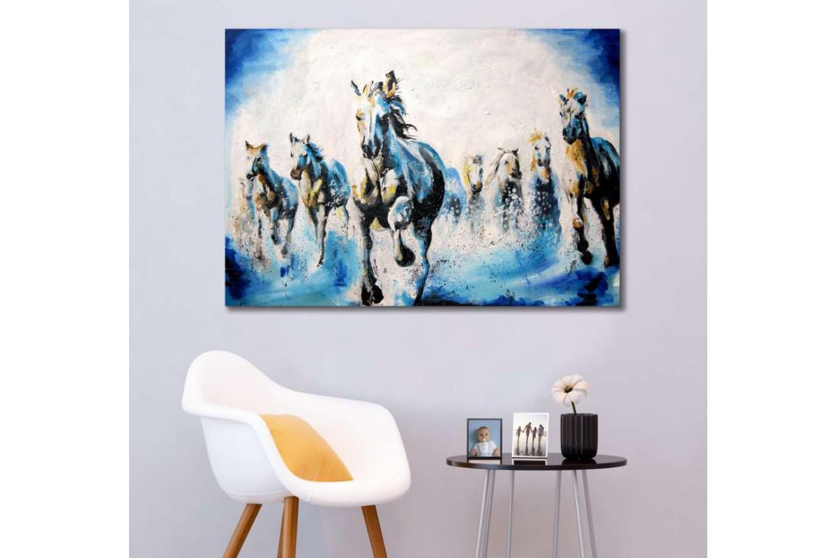 srk299 - Yağlı Boya Görünümlü Koşan Yabani Atlar kanvas tablo