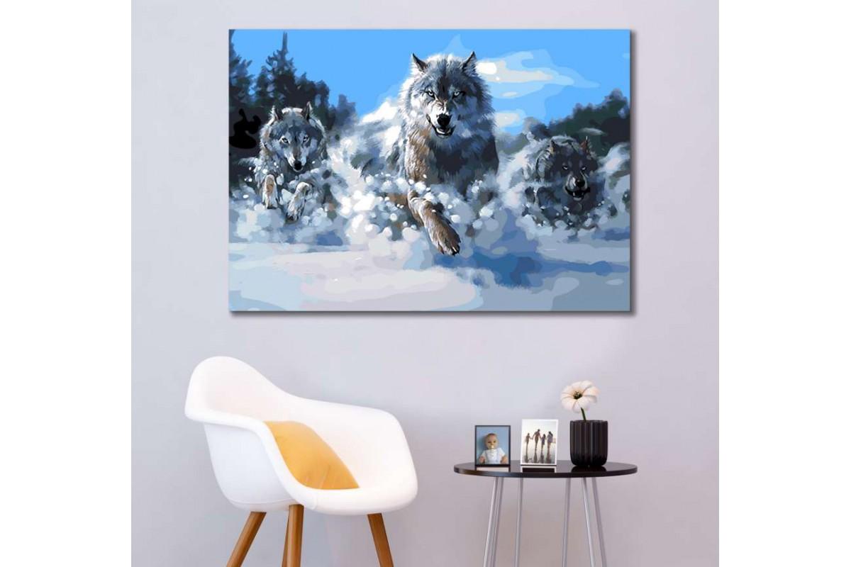 srk299w - Vahşi Kurt Sürüsü, Yağlı Boya görünümlü kanvas tablo