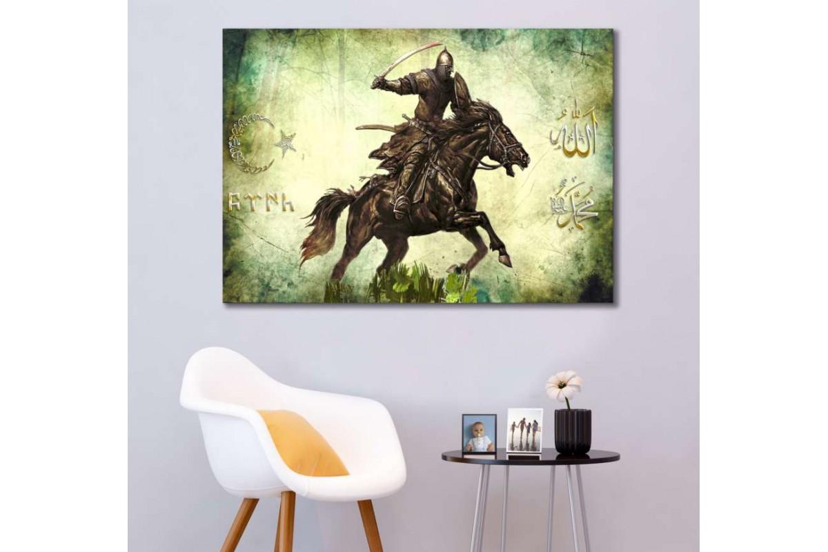srk301-TÜRK SAVAŞÇI-KALİGRAFİ AY YILDIZ-GÖKTÜRKÇE TÜRK-ALLAH-MUHAMMED LAFZI kanvas tablo