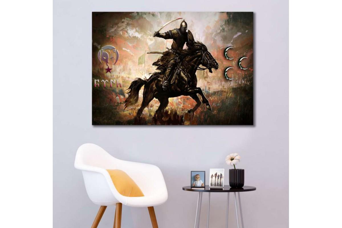 srk302 - TÜRK SAVAŞÇI-AY YILDIZ VE KURT-GÖKTÜRKÇE TÜRK YAZISI-3 HİLAL özel kanvas tablo