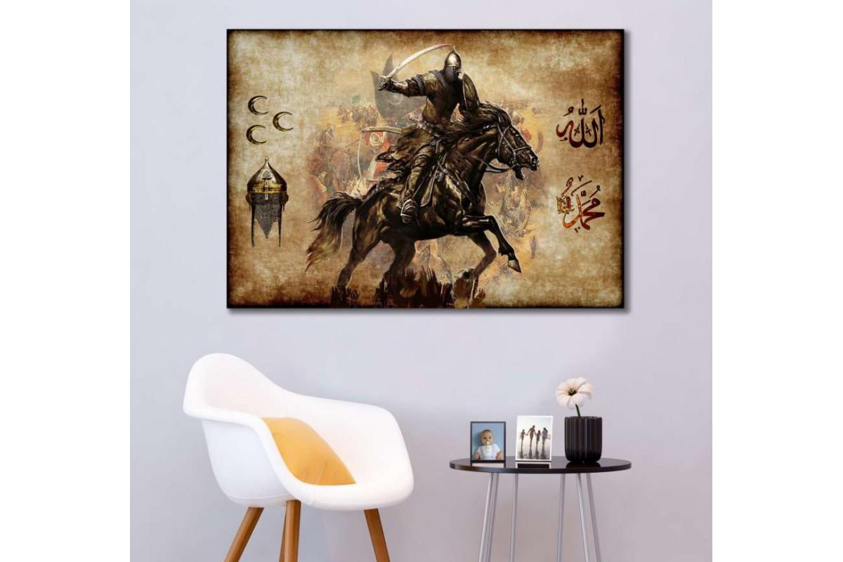 srk304 - TÜRK SÜVARİSİ-3 HİLAL-ALLAH-MUHAMMED-OSMANLI MİĞFER özel tasarım kanvas tablo