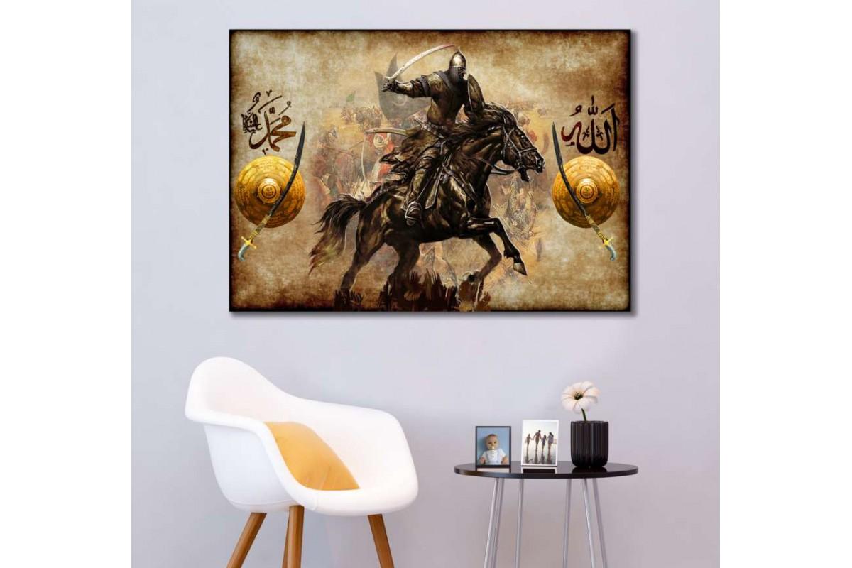 srk305 - OSMANLI SÜVARİSİ-ALLAH-MUHAMMED-KILIÇ KALKAN özel tasarım kanvas tablo
