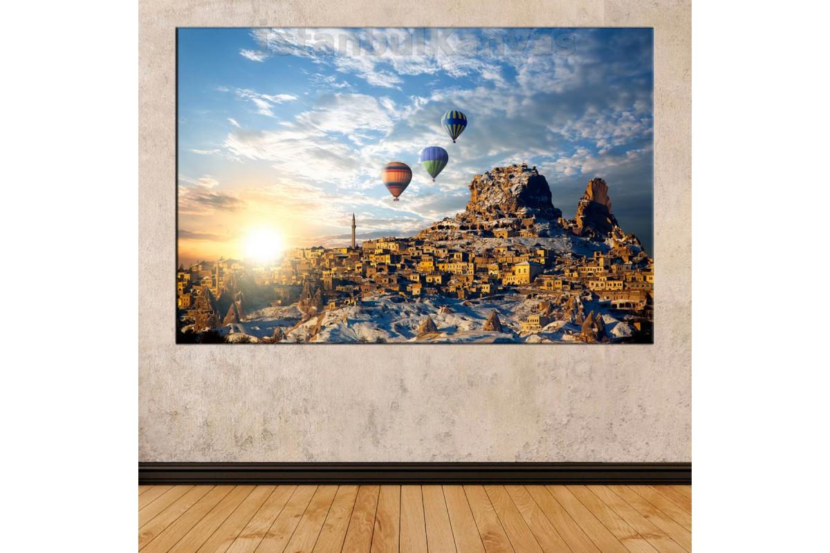 Srk31 - Gün Doğarken Kapadokya Ve Balon Manzaralı Kanvas Tablo