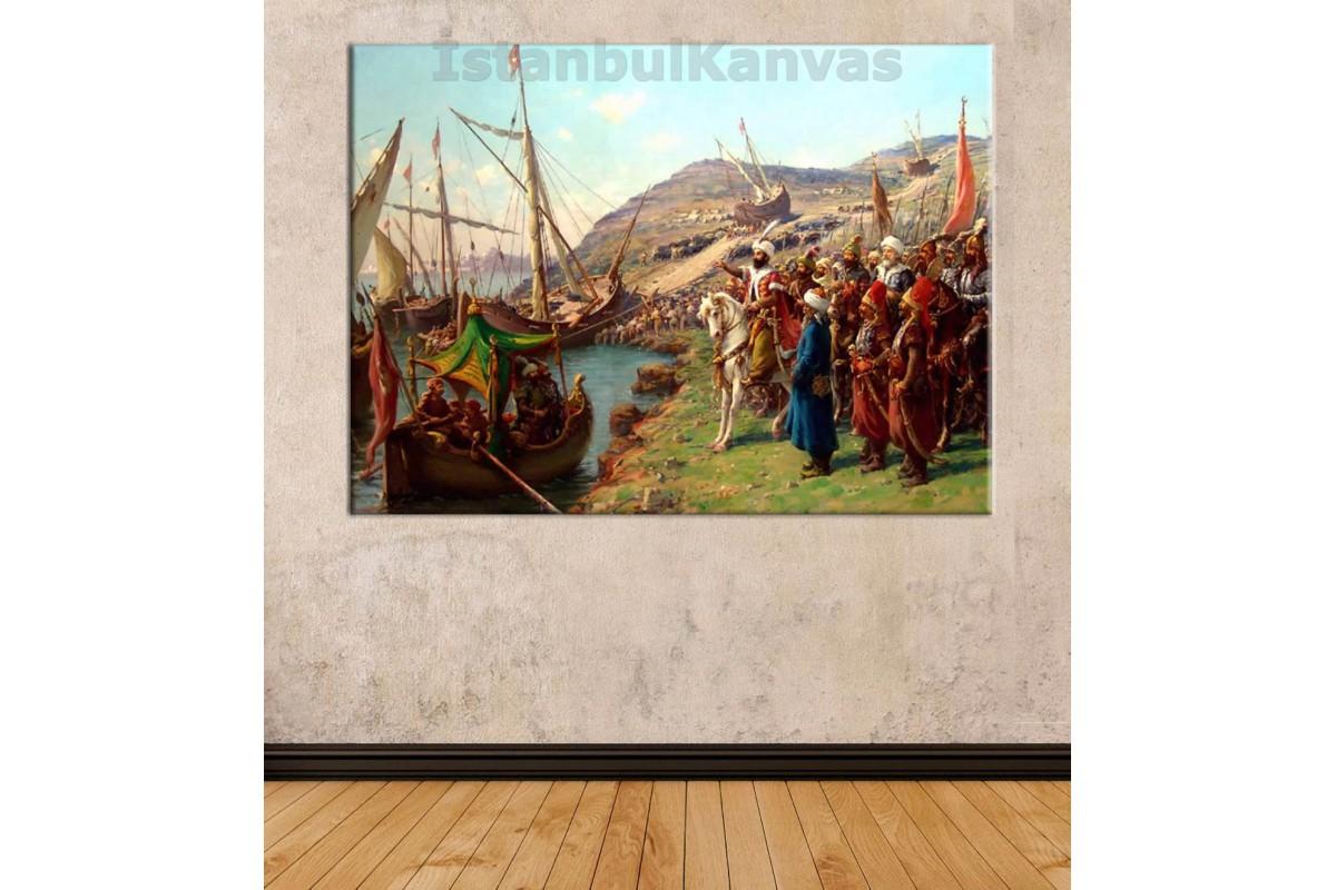 Srk37 - Fatih Sultan Mehmet İstanbul'un Fethi Yağlı Boya Görünümlü Kanvas Tablo