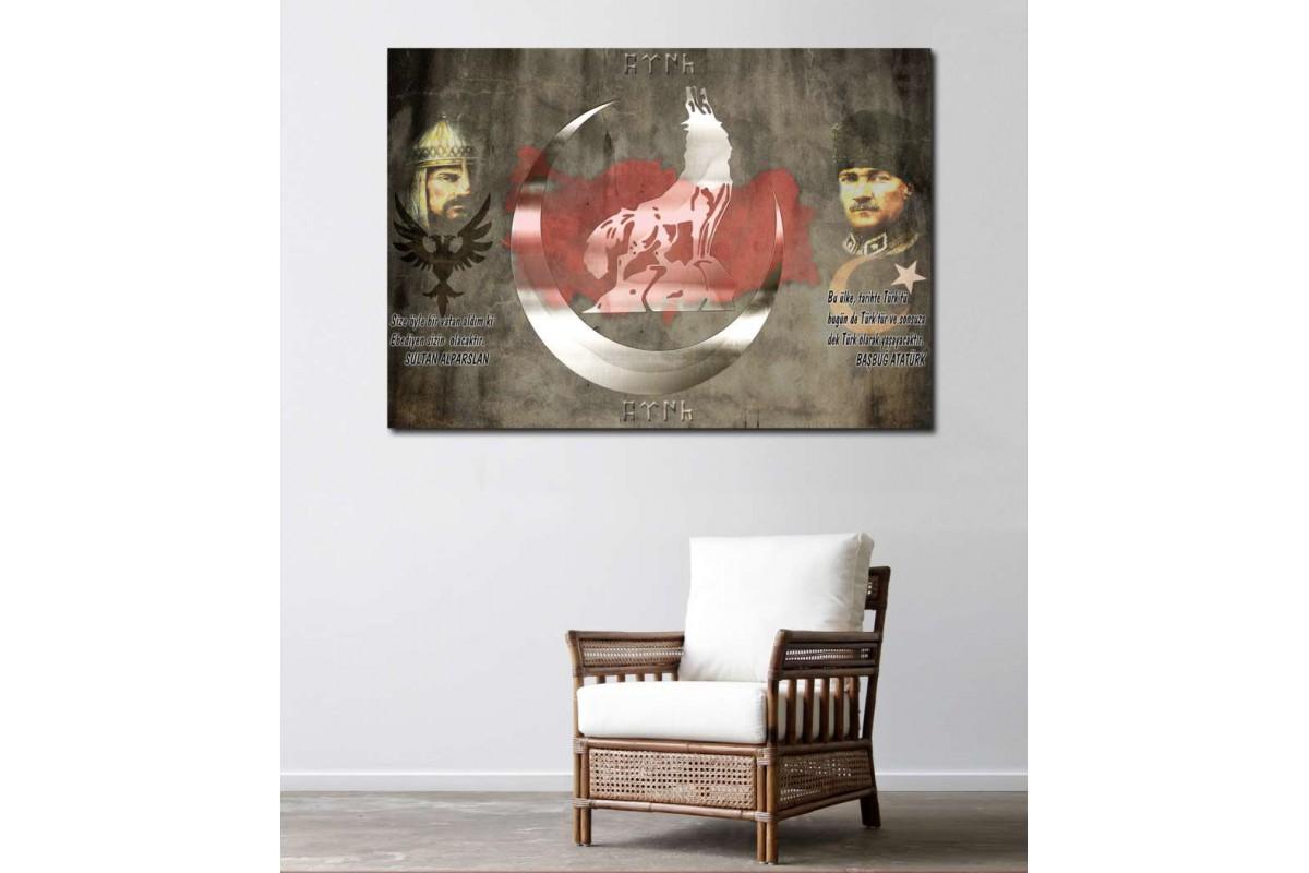 srk409 - BAŞBUĞ ATATÜRK VE SULTAN ALPARSLAN, BOZKURT TÜRKÇÜ TEMALI özel tasarım kanvas tablo