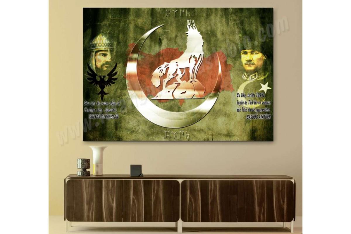 srk409b - BAŞBUĞ ATATÜRK VE SULTAN ALPARSLAN, BOZKURT TÜRKÇÜ TEMALI özel tasarım kanvas tablo