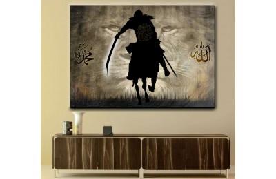srk415 - ALLAH'IN ASLANI HAZRETİ ALİ, KILICI ZÜLFİKAR, ALLAH, HZ.MUHAMMED ÖZEL TASARIM Kanvas Tablo