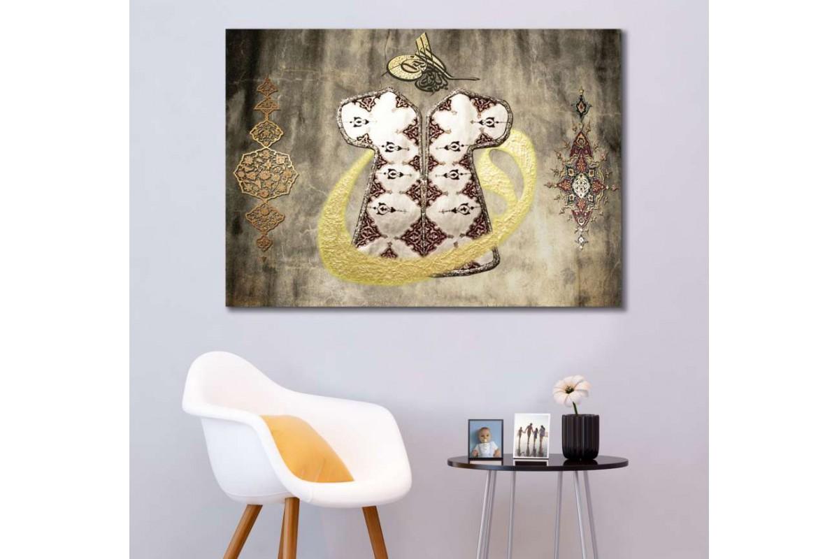 srk425-Tezhip Sanatı ve Vav İçinde Gümüş Osmanlı Kaftanı ve Tuğra Özel Tasarım Kanvas Tablo