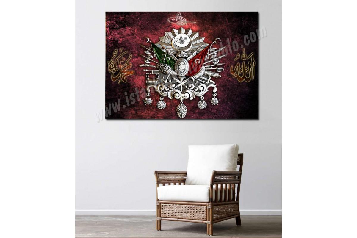 srk437 - Osmanlı Arması, Osmanlı Tuğrası, Allah, Hz.Muhammed Özel Tasarım Kanvas Tablo