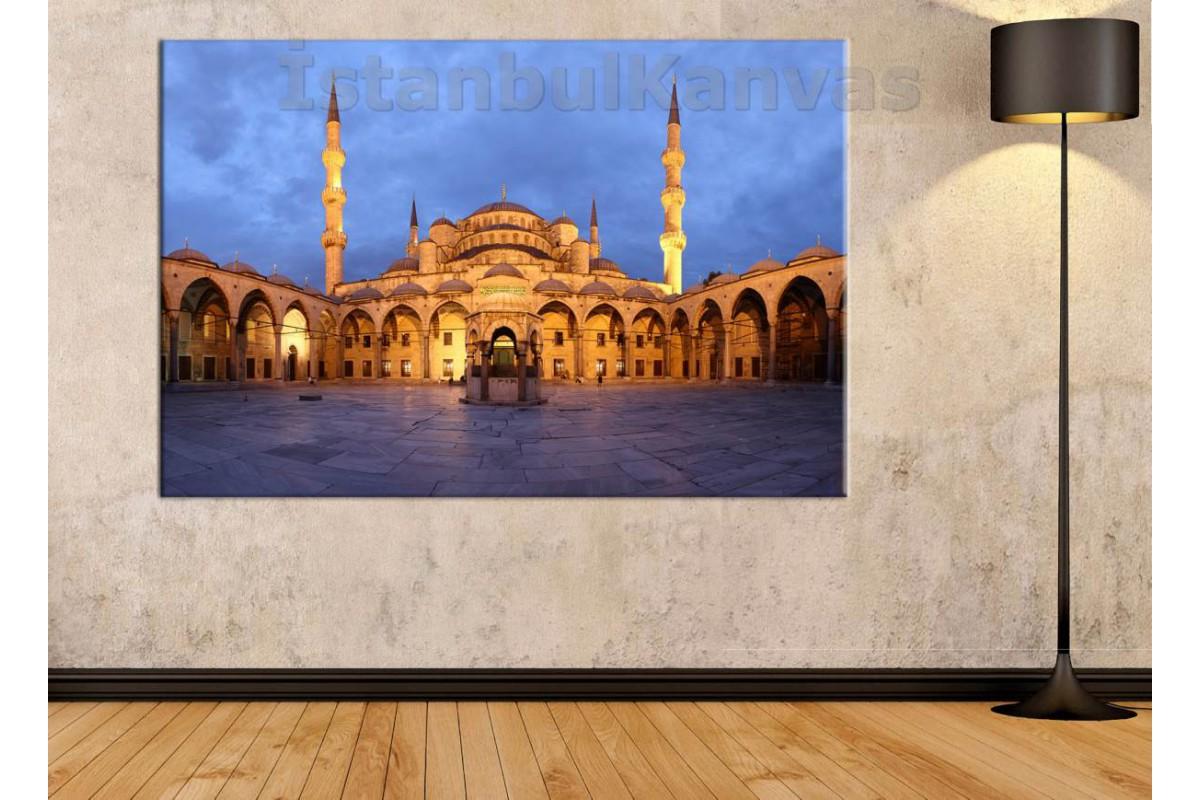 Srk449 - İstanbul Sultanahmet Camii Avlusu Gün Batımı Manzarası Kanvas Tablo