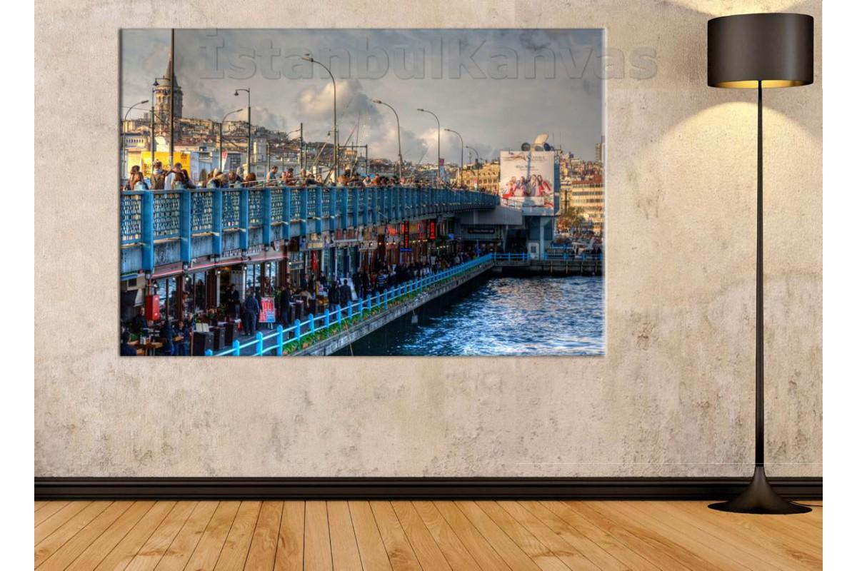 Srk47 - İstanbul Galata Köprüsü Ve Balık Tutan İnsanlar Kanvas Tablo
