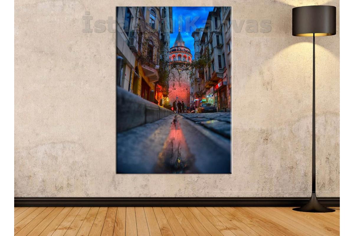 Srk503 - Galata Kulesi Akşam Işıkları Kanvas Tablo