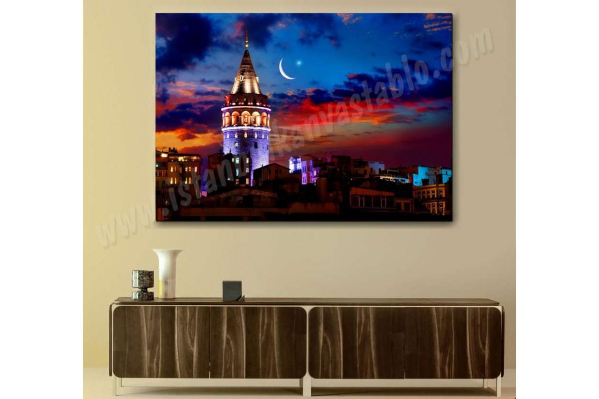 srk505 - Galata Kulesi Gece ve Ay Yıldız İstanbul Manzarası Kanvas Tablo