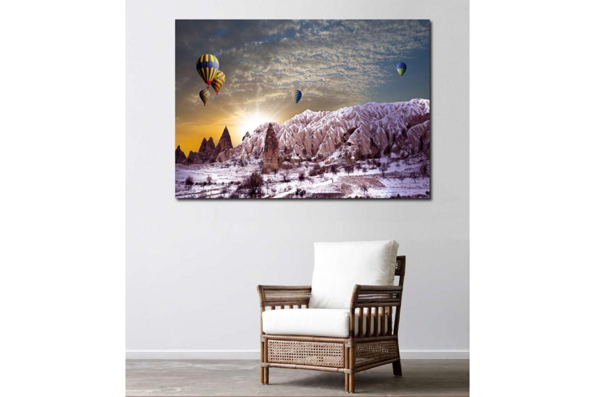 srk722 - Kapadokya ve Sıcak Hava Balonları Manzaralı kanvas tablo