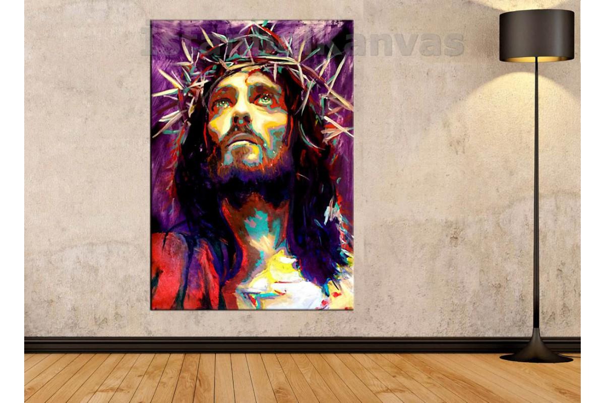 Srkjc02 - Hazreti İsa, Hz.İsa Dikenli Taç Yağlı Boya Görünümlü Soyut Kanvas Tablo