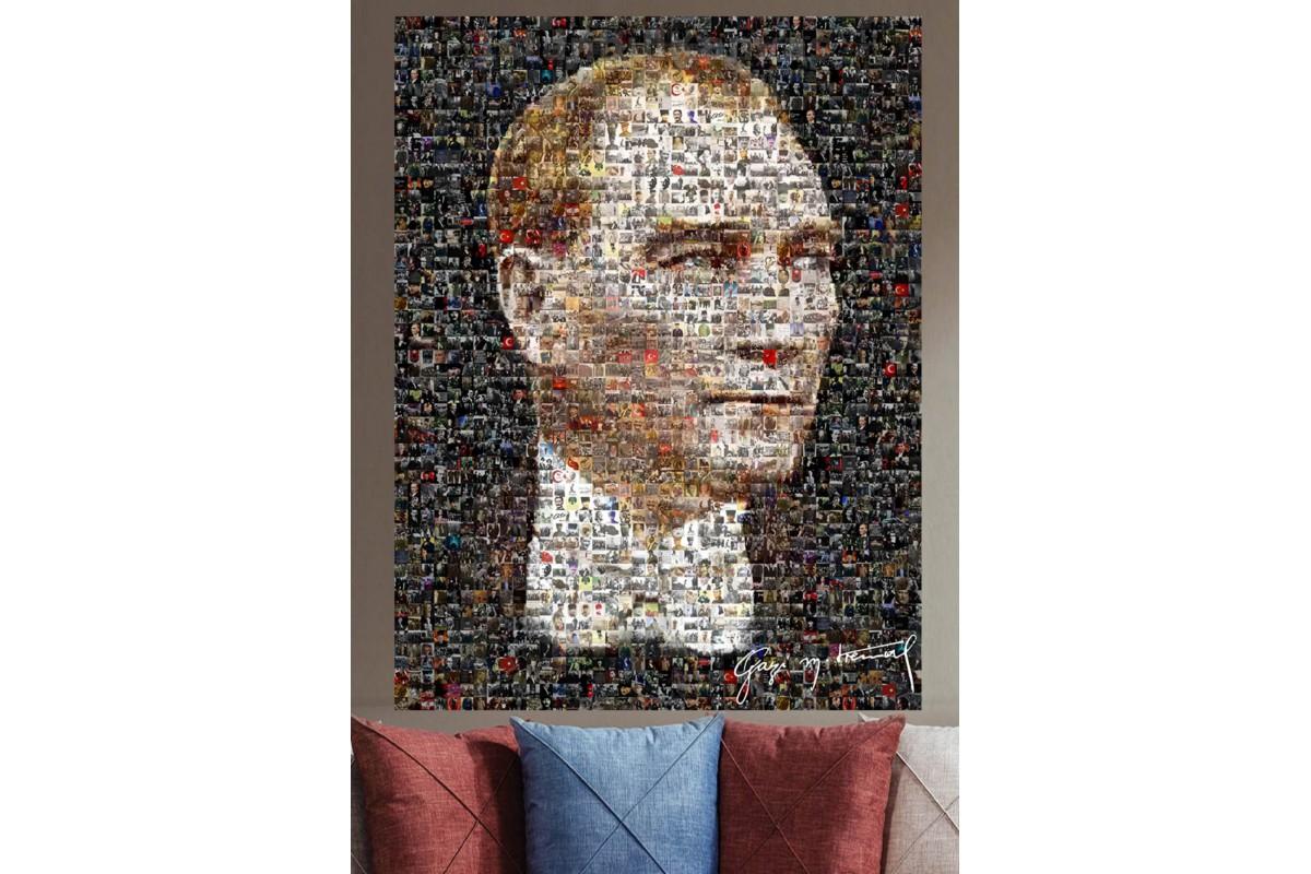 Srka110 - Mozaik Atatürk Resmi, Minyatür Atatürk Resimlerinden Oluşan Kolaj Atatürk Portresi Kanvas Tablo