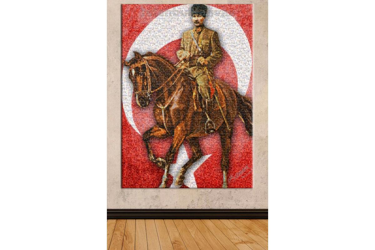 Srka111 - Mozaik At Binen Atatürk, Minyatür Atatürk Resimlerinden Yapılmış Kanvas Tablo