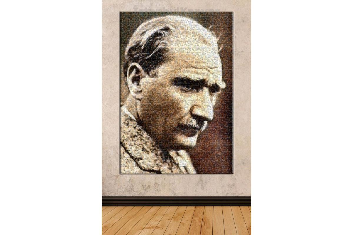 Srka112 - Mozaik Atatürk Resmi, Minyatür Atatürk Resimlerinden Yapılmış Kanvas Tablo