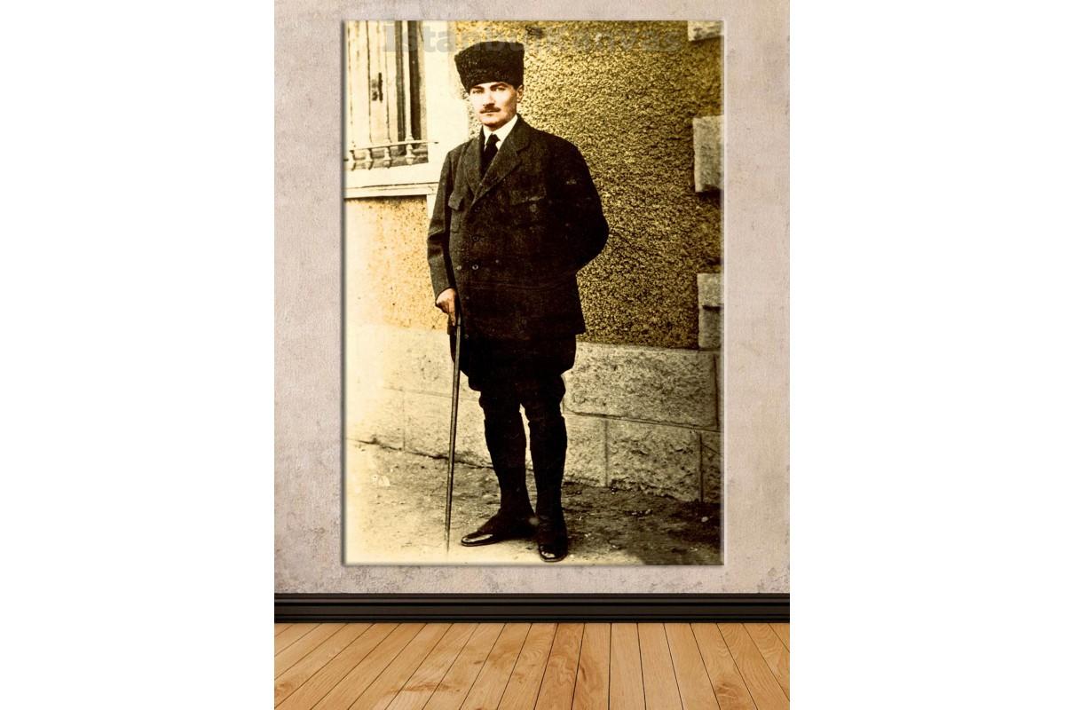 Srka15 - Renklendirme Bastonlu Atatürk Kanvas Duvar Tablosu