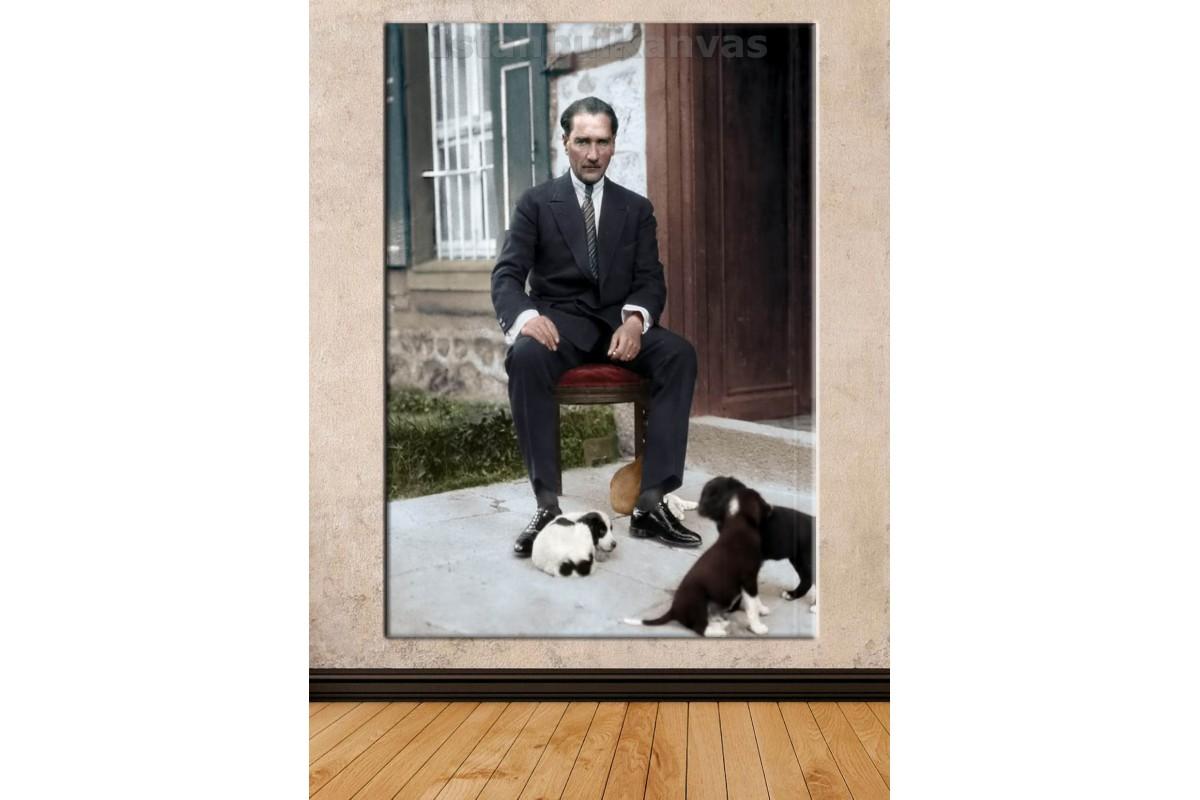 Srka16 - Özel Renklendirme Atatürk Ve Yavru Köpekler Kanvas Tablo