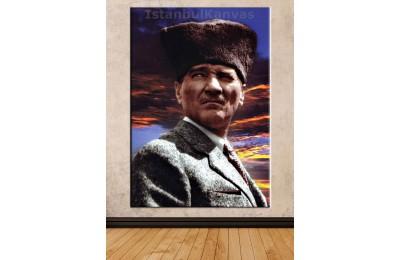Srka17 - Özel Renklendirme Kalpaklı Atatürk Kanvas Tablo