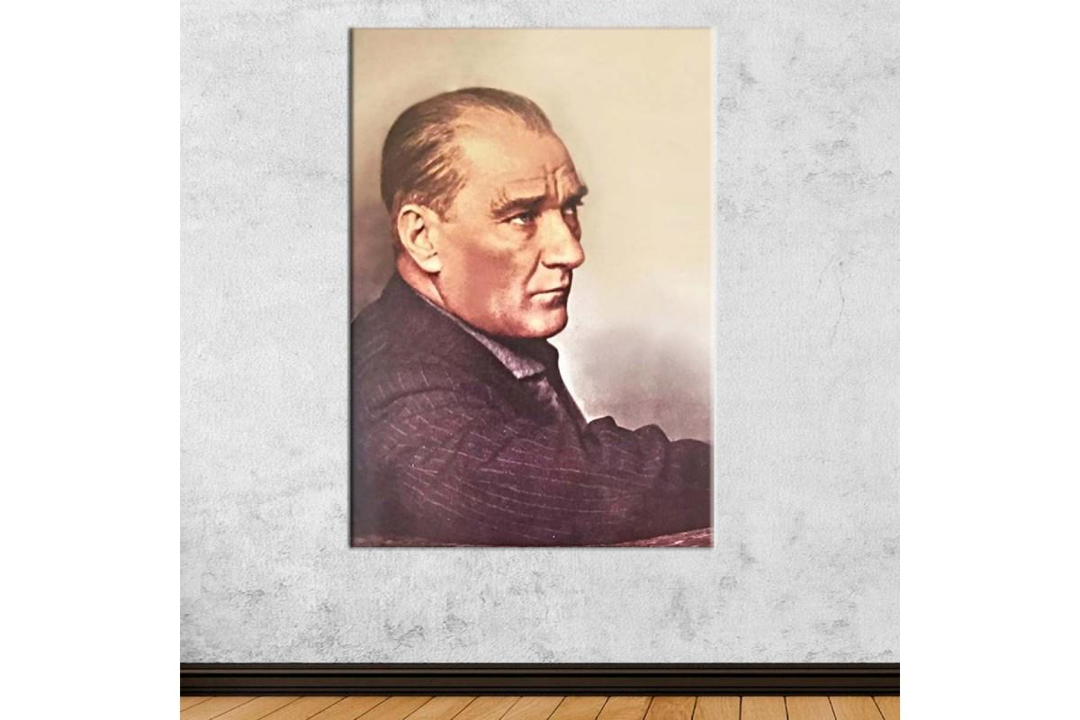 srka20 - Ulu Önder Mustafa Kemal Atatürk Renkli kanvas tablo