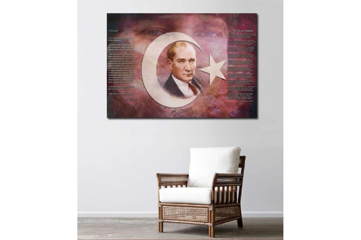 srkc5 - Mustafa Kemal Atatürk, İstiklal Marşı ve Gençliğe Hitabe özel tasarım kanvas tablo
