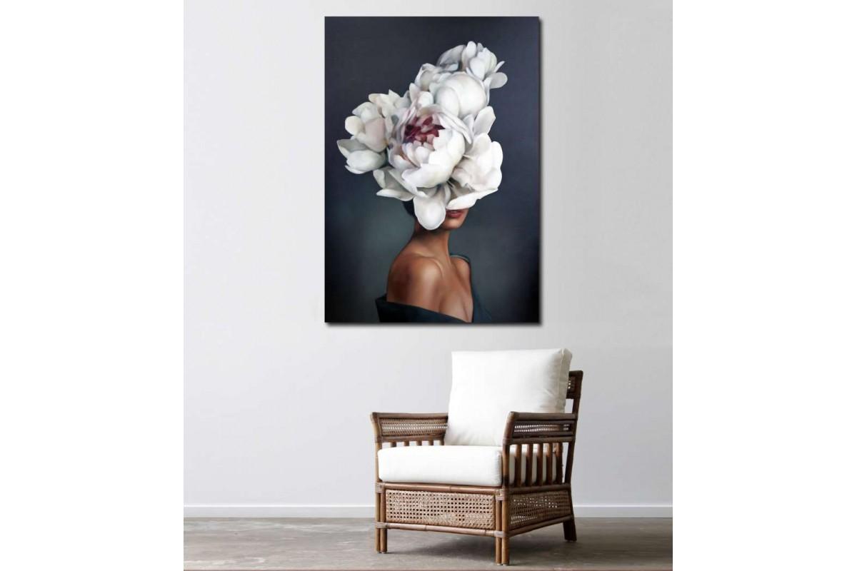 srkd57 - Çiçek Başlı Kadın, Kafasında Çiçekler Olan Kadın Kanvas Tablo