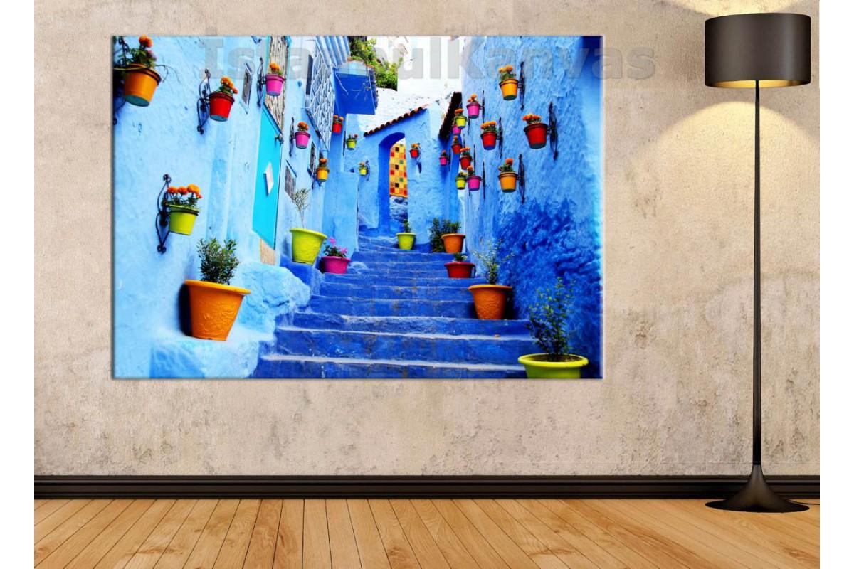 Srkf1 - Mavi Boyalı Sokaklar, Fas Sokakları Kanvas Tablo