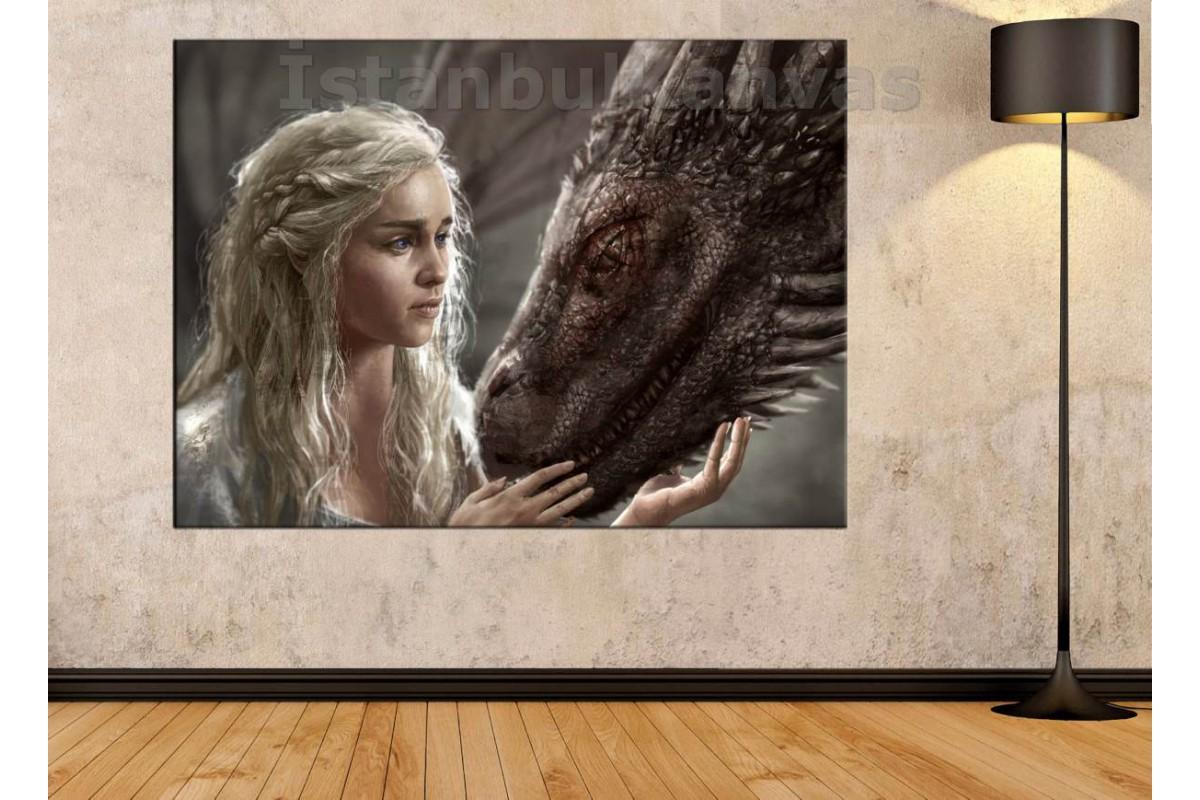Srkg01 - Game Of Thrones-Daenerys Targaryen-Khaleesi Ve Ejderha Yağlı Boya Görünümlü Kanvas Tablo