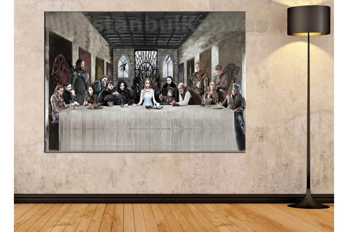 Srkg03 - Game Of Thrones, Leonardo Da Vinci, Hz.İsa Son Yemeği Uyarlaması Yağlı Boya Görünümlü Kanvas Tablo