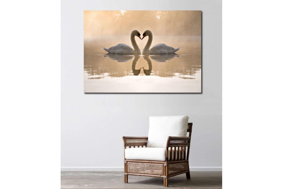 srkg1 - Göldeki Kuğular, Romantik, Kalp Şekli Kanvas Tablo