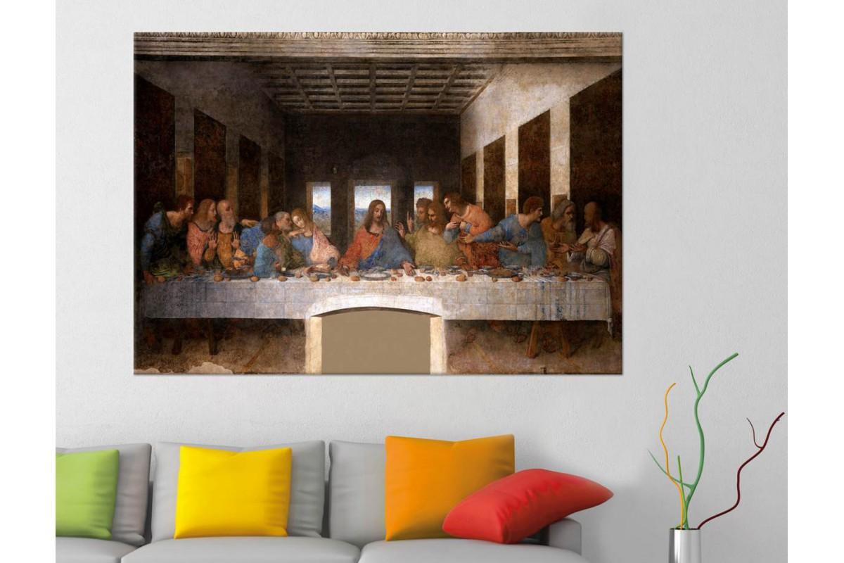 srkjc03 - HAZRETİ İSA, HZ.İSA SON AKŞAM YEMEĞİ LEONARDO DA VİNCİ KANVAS TABLO