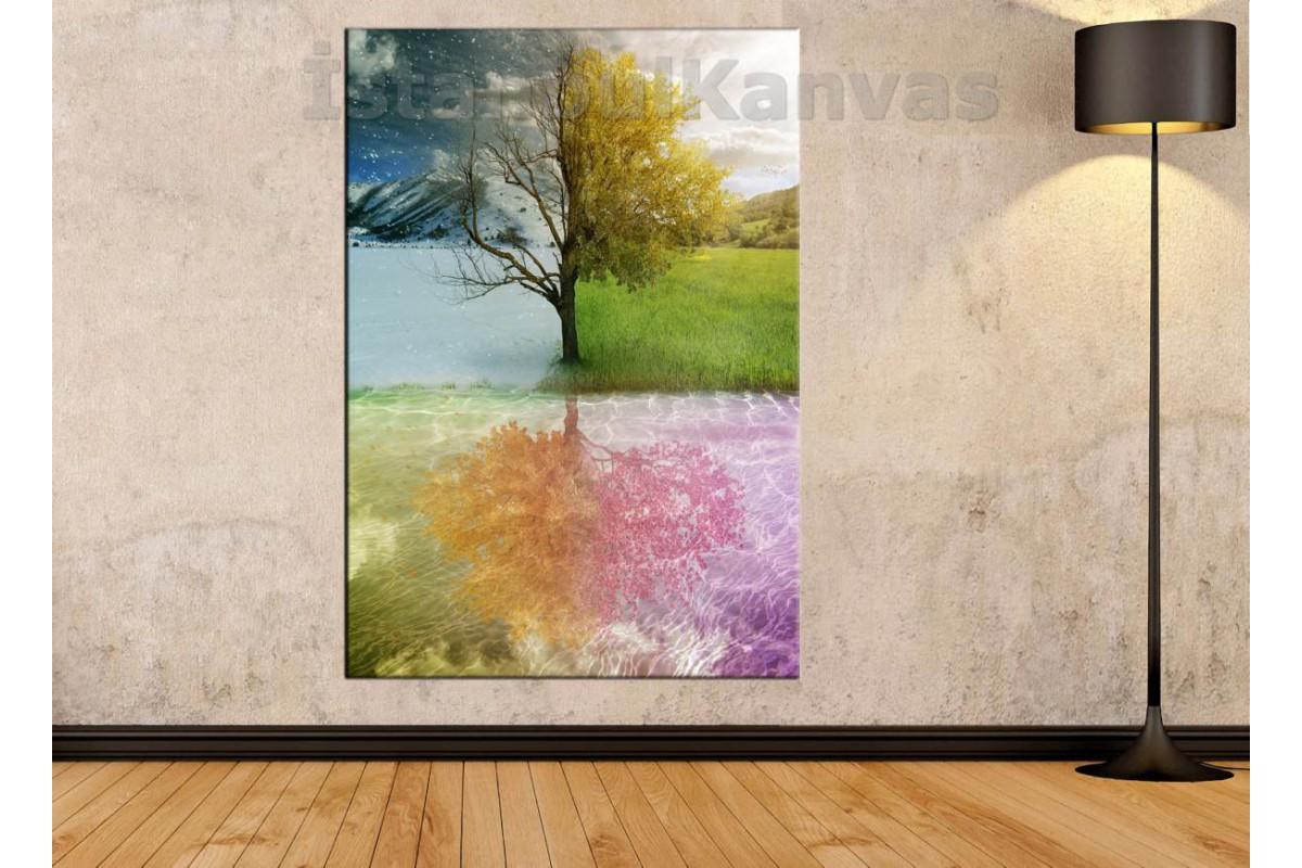 Skrm06 - Dört Mevsim Bir Ağaç - Tek Parça Kanvas Tablo