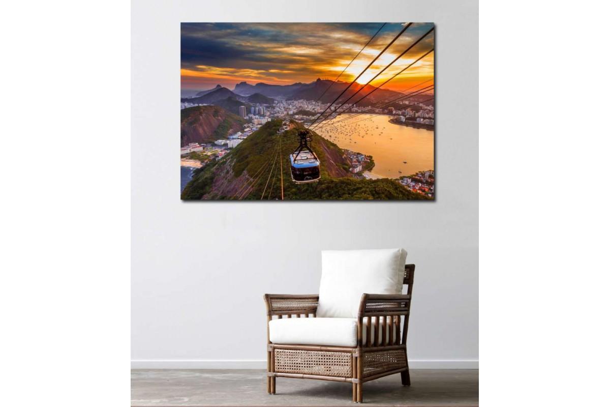srkm25 - Rio De Janerio Teleferik Manzaralı Kanvas Duvar Tablosu