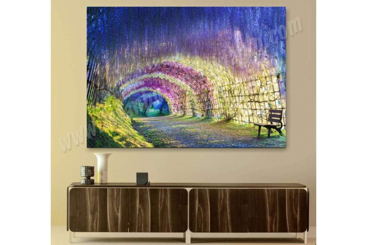 srkm32 - Japonya Çiçek Tüneli Parkı Manzaralı Kanvas Duvar Tabloları