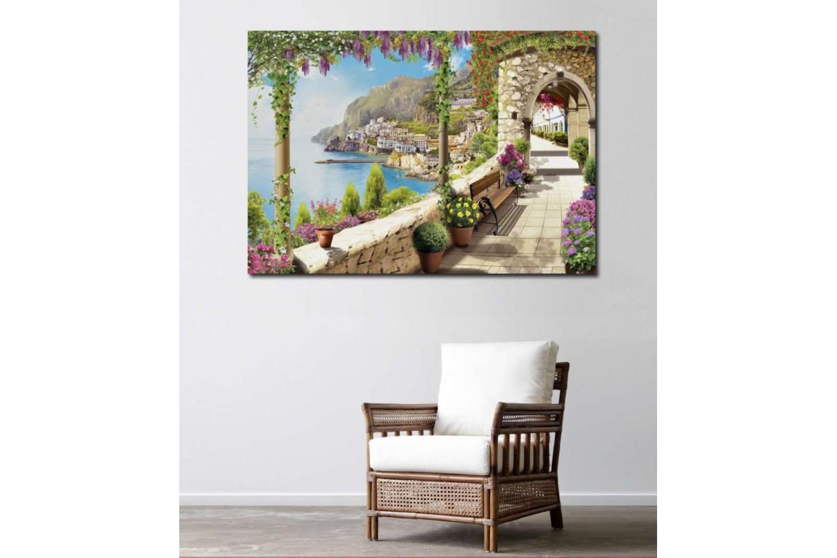 srkm45 - Yağlı Boya Görünümlü Dekoratif Deniz ve Balkon Manzarası Kanvas Tablo