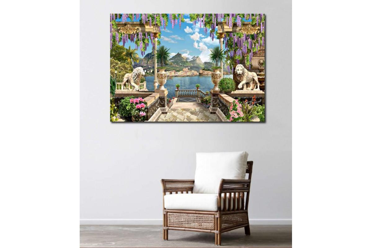 srkm46 - Dekoratif - Aslan Heykelleri, Deniz ve Balkon Manzarası Kanvas Tablo