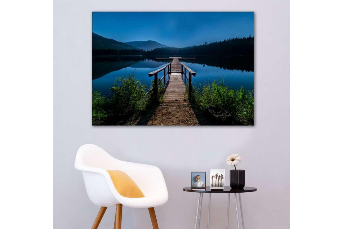 srkm54 - Tahta İskele ve Göl manzarası ve Yıldızlar dekoratif kanvas duvar tablosu
