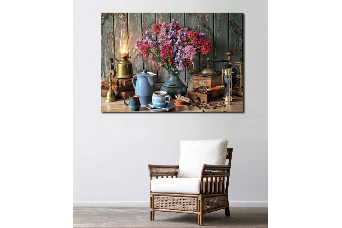 srkn1 - Vazo, Çiçek, Kahve Çekirdekleri, Gaz Lambası, Kum Saati Yemek Odası natürmort kanvas tablo