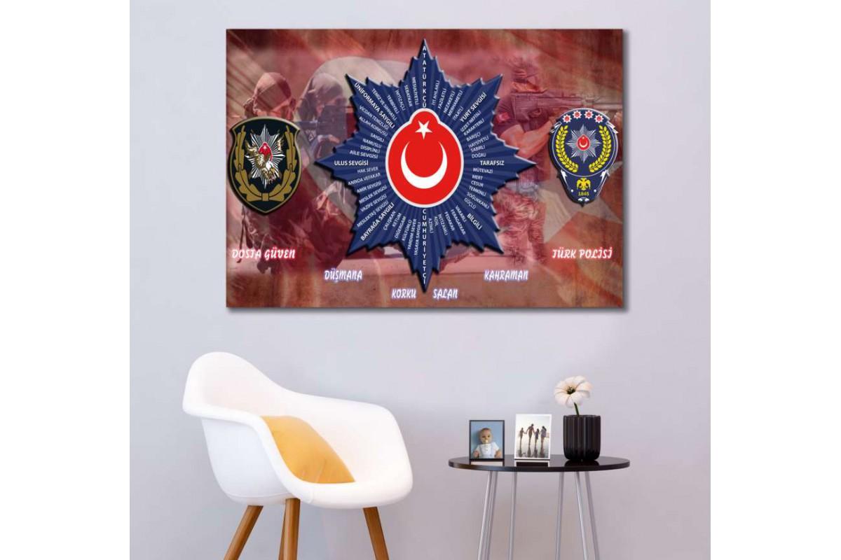 srkp1 - TÜRK POLİSİ-POLİS ÖZEL HAREKAT-PÖH-POLİS İLKELERİ TEMALI ÖZEL TASARIM KANVAS TABLO