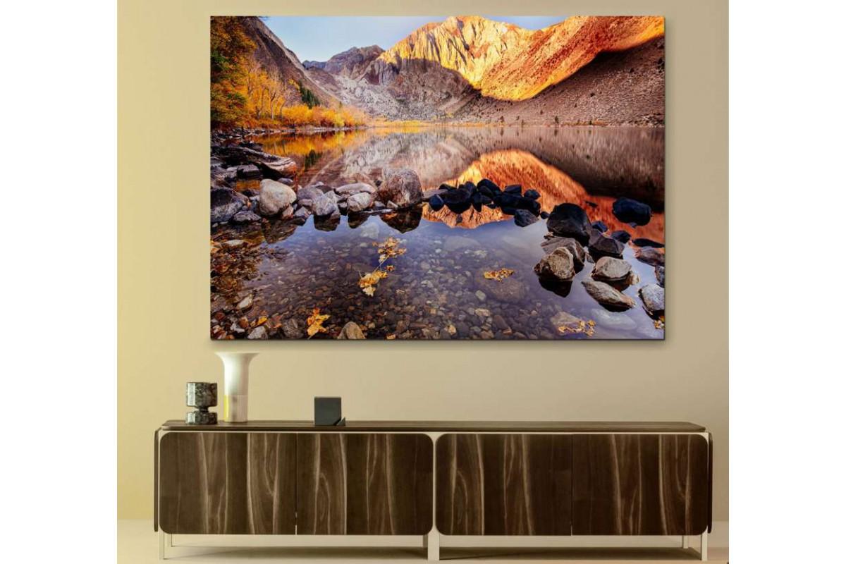 srks10 - Dağ ve Göl Manzaralı kanvas tablo