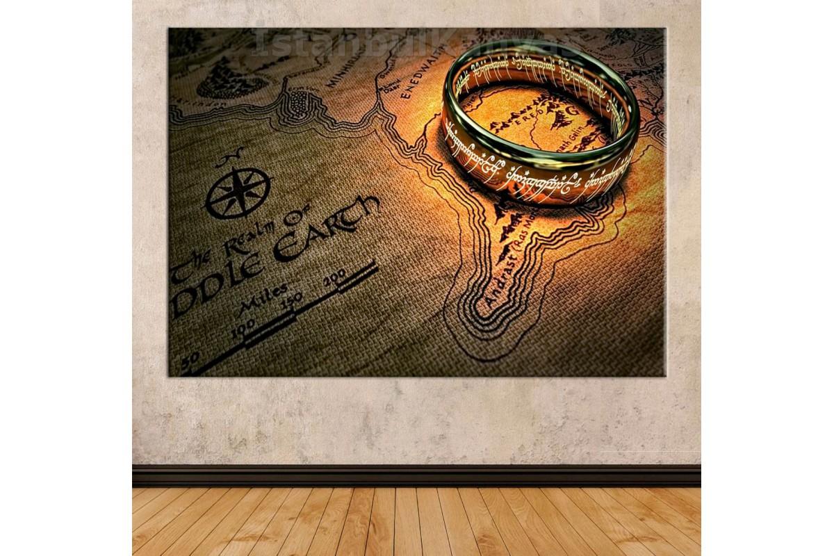 Srks15d - Yüzüklerin Efendisi - Lotr - Sauron'un Güç Yüzüğü Ve Orta Dünya Haritası Kanvas Tablo