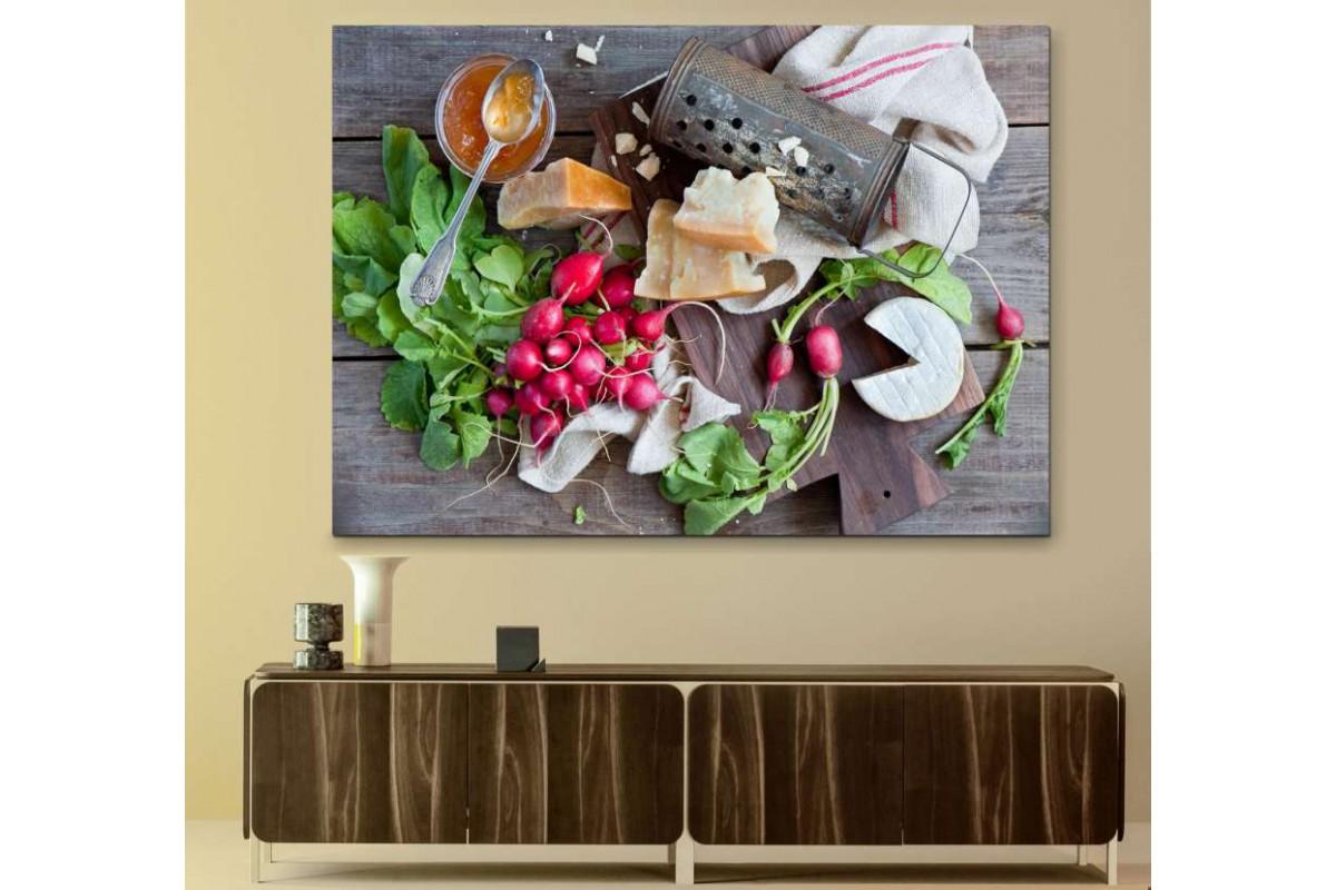 srks16 - Natürmort Mutfak, Sebzeler, Turp, Peynir, Reçel ve Rende kanvas tablo