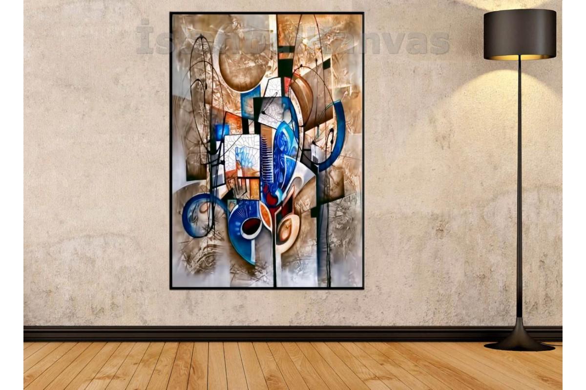 Srks18 - Dekoratif Soyut Şekiller Kanvas Duvar Tablosu